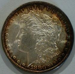 Near Full Gem BU 1880 O Mint Morgan Great Album Toning