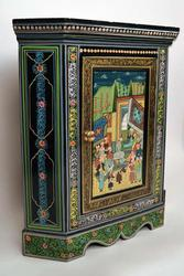 Gorgeous Oriental Hand Painted Wooden Corner Cabinet