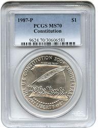 MS70 1987-P Constitution Commem Silver Dollar, PCGS