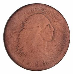 1793 Flowing Hair Large Cent CHAIN Reverse (cleaned) - Circulated