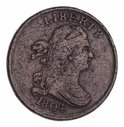 1804 Draped Bust Half Cent Crosslet 4 w/ Stems