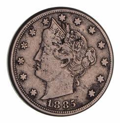 Key 1885 Liberty V Nickel - Circulated