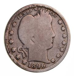KEY 1896-S Barber Quarter - Circulated
