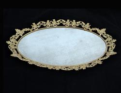 Vintage Mirrored Whitewashed Brass Oval Vanity Tray