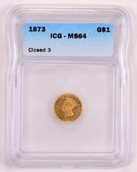 1873 Indian Princess Head Gold Dollar - ICG MS64