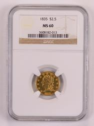 1835 $2.50 Classic Head Quarter Eagle NGC MS60