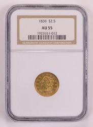 1838 $2.50 Classic Head Gold Quarter Eagle NGC AU55