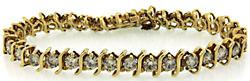 Eye Catching14KT Yellow Gold Diamond Tennis Bracelet
