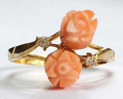 Romantic, Carved Natural 'Coral' Flowers Ring