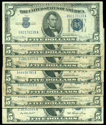 6 Series of 1934 and 1 1953 $5 Blue Seal Silver Certs