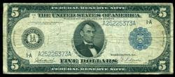 Popular 1914 Series $5 Federal Reserve Note (1-A)