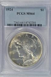 Great near Gem BU 1924 Peace Silver Dollar. PCGS MS64