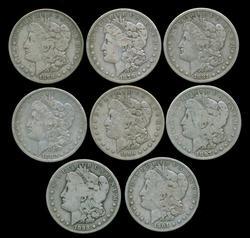 Great lot of 8 Diff. 'S' Mint Morgan Silver Dollars