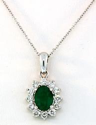Emerald & Diamond Pendant in 18K
