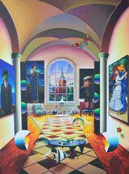 Ferjo Original Acrylic - Classic Art Before The Window