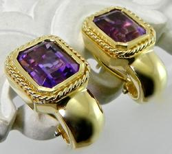 Gorgeous 18kt Gold Amethyst Pair of Earrings