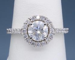 14K White Gold Halo Style Engagement Ring