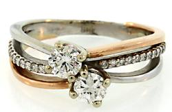 Two tone Diamond Bypass Ring