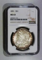 1891 Philadelphia Minted Morgan Silver Dollar NGC MS 63