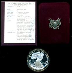 Better date 1995 Gem Proof $1 Silver Eagle. Box/COA