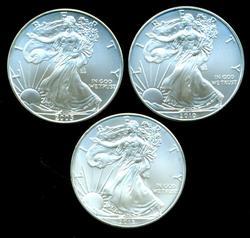 Superb Gem BU 2005, 2010, & 2013 $1 Silver Eagles
