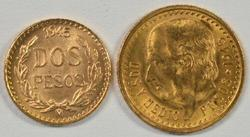2 Superb Gem BU 1945 Mexico 2 & 2.5 Pesos Gold Pieces
