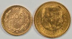 2 Superb Gem BU 1945 Mexico 2 & 2.5 Pesos Gold Pieces