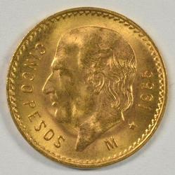 Pristine Gem BU 1955 Mexico 5 Pesos Gold Piece