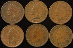 6 Diff. Indian Head Cents from 1890's in VF/XF