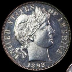 Gem Cameo Proof 1892 Barber Dime-Scarce Mintage 1,245!