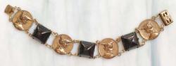 Amazing, Old World, Brass Relief Faux 'Roman Coins', Black Bracelet