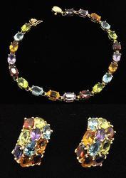 Multi Gemstone Bracelet and Earrings Set
