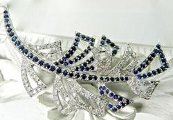 Sparkling 18K White Gold Sapphire and Diamond Brooch