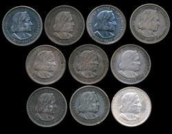 Lot of 10 1892 Columbian Commemorative Half Dollars