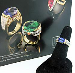 Richard Krementz Tanzanite, Diamond & Garnet Ring
