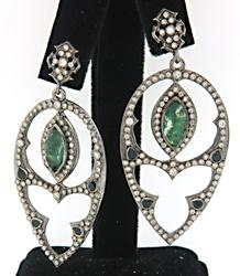 Armenta Earrings with Bloodstone, Sapphires & Diamonds