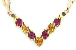 Multi-Gemstone V Shape Necklace in 14kt Gold