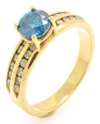 For the Blue Lovers, Blue Diamond Ring, 14kt Gold
