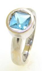 Faceted Square Cut Blue Topaz Ring