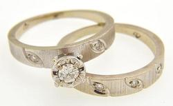 Extremely Elegant Vintage Diamond Wedding Set