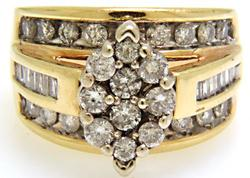 3 Row Diamond Cluster Ring