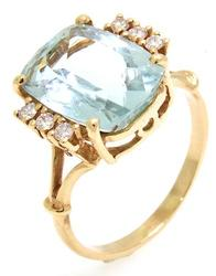Vintage Aquamarine & Diamond Accents Cocktail Ring