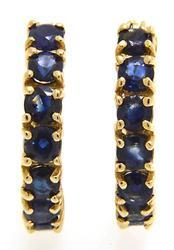 Sapphire Hoop Earrings in 14kt Gold