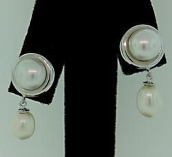Fresh Water Pearl Button/Dangle Earrings