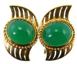Great Pair of Vintage 18K Jade Earrings