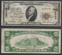 $10 1929 Ch 13044 National bank note San Fran, CA