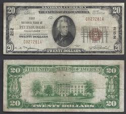 $20 1929 NBN Ch. 252 Pittsbugh, PA