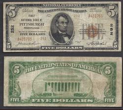 $5 1929 NBN  Type II Ch. 252 Pittsburgh, PA