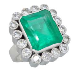 Unique Custom Made Emerald & Diamond Cocktail Ring