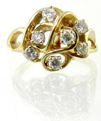 Free Form 14K Diamond Cluster Ring